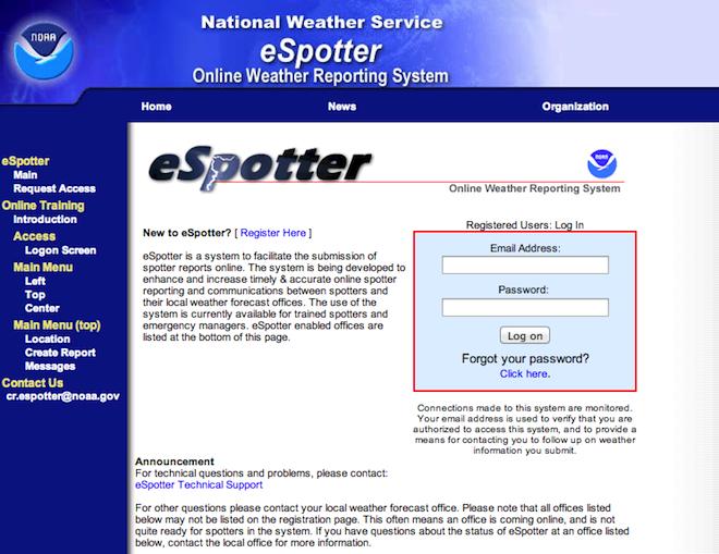 米国のスポッターのオンラインサイト