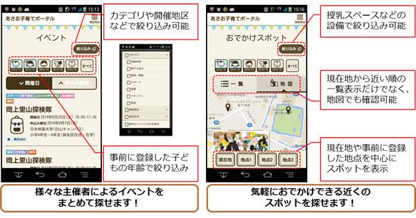 子育て支援アプリの画面イメージ